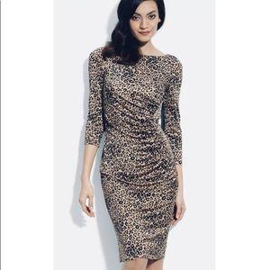 L. K. Bennet Silk Ruched Leopard Print Dress